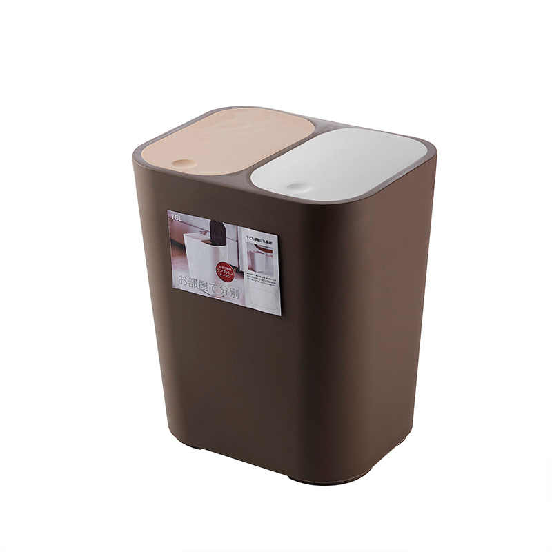 15L Storage Bucket Double Barrel PP Garbage Cans with Lid Kitchen Trash Bin  Pressing Type Rectangular Standing Eco-Friendly
