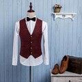 Высокое Качество 2016 Осень Мужчины Мода Повседневная Плед Деловых Свадьба Жених Костюмы Жилеты Молодой Человек Пиджаки Жилеты S-XXL J562