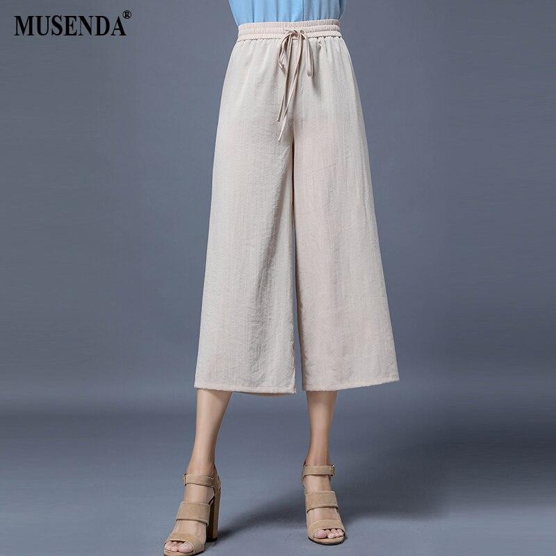 MUSENDA Plus Size Women Mid Drawstring Elastic Waist Wide Leg   Pants   Calf Length   Capris   2018 Autumn Female Ladies Casual Trousers