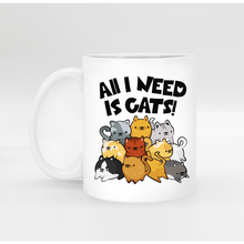 Custom Funny cat Porcelain white coffee Mug tea Milk cup mugs for Birthday Christmas gift  all I need is cats