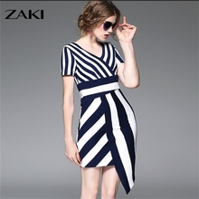 2016 new style high quality fashion mode female women girl Commuter V neck asymmetric stripe mosaic Waist design slim dress