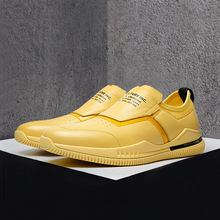 Spring or Autumn 2019 Genuine Leather Mens Shoes New Flat Casual Head Joker Yellow Yasilaiya Solid