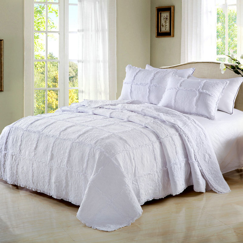 US 27 OFF White Bedspread Quilt Set 3pcs Lace Cotton Embroidered Quilts Quilted Blanket Coverlets Bed Covers Pillowcase King Queen Size In