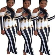 Одежда в африканском стиле, сексуальное длинное платье-карандаш с принтом сзади и разрезом, Бандажное платье макси, вечерние платья с длинными рукавами на молнии сзади