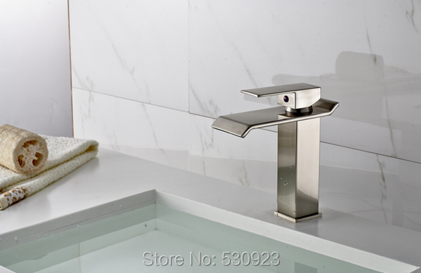 ФОТО Newly Solid Brass Nickle Brushed Basin Faucet Mixer Tap Modern Style Bathroom Sink Faucet Single Handle Single Hole Deck Mount
