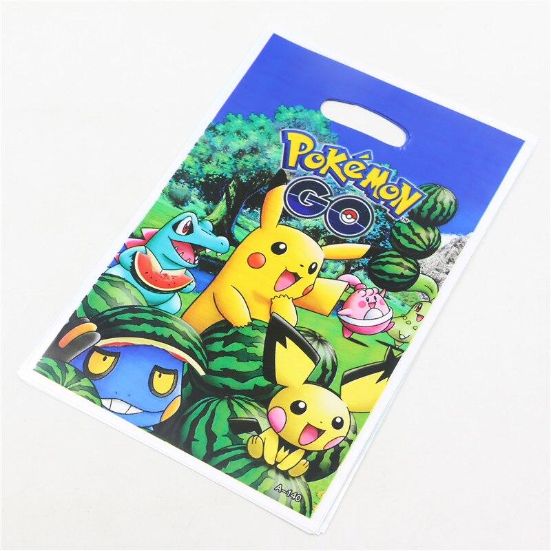 10Pcs Lot Lovely Pikachu Theme Birthday Party Supplies Kids Boys Girls Loot Bag Pokemon Go Style Return Gift Bags