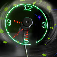 USB LED Mini Fan Fan Clock Display Real Time Clock Timing Luminous Fan