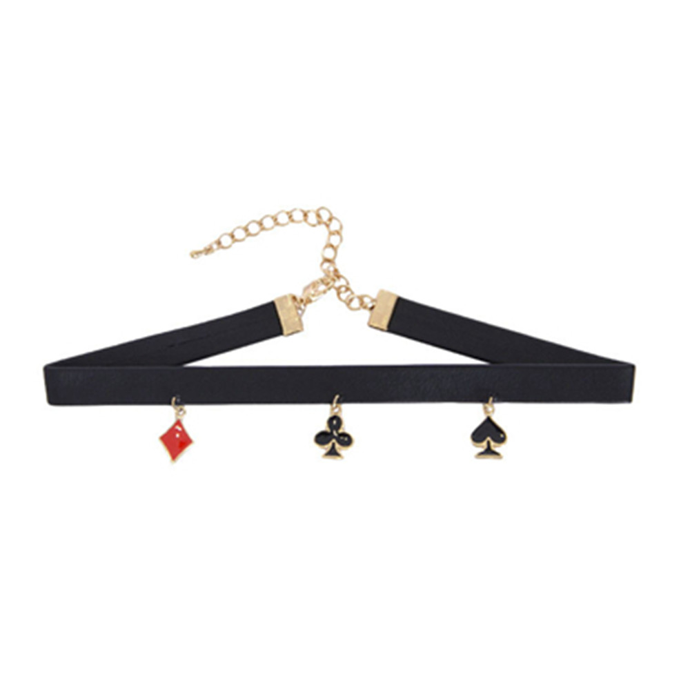 Chokers Necklaces new fashion 2016 Japanese act the role ofing is tasted Alice wonderland of spades Poker PU collar necklace