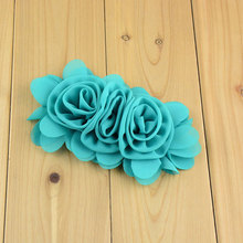 "10pcs Approx 5"" Triple Roses Chiffon Flowers Blossom for Hair Accessories,Headbands,Hair Flowers Black Red Cameo Mint NEON"