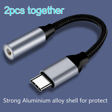 2 pcs juntos adaptador Tipo C 3.5 Jack USB C para 3.5mm masculino AUX Adaptador De Fones de ouvido Para Huawei companheiro 20 p30 pró Xiao mi mi 6 8 cabo de Áudio