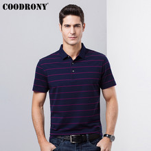 COODRONY Striped Turn-down Collar Tshirt Business Casual T Shirt Men Clothing 2019 Spring Summer Short Sleeve T-Shirt S95117