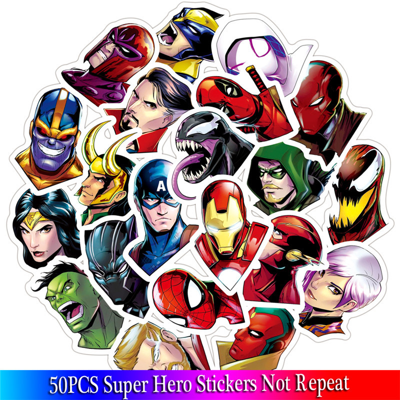 50PCS Super Hero Stickers Marvel Stickers Movies Character Sticker For Skateboard Motorcycle Luggage Laptop Cartoon Sticker Sets image