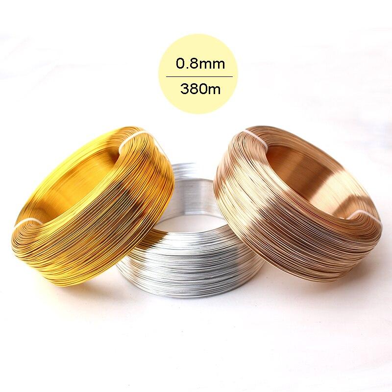 Commercio all'ingrosso Spessore 0.8mm 20 Calibro 0.5 kg Argento Oro Champagne In Alluminio Anodizzato Mestiere Monili Che Fanno Morta Morbida Metallico Filo