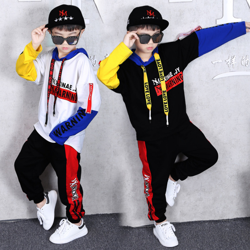 2019 Spring Autumn Kids Clothes Boys 3 4 <font><b>5</b></font> 6 7 8 9 10 11 12 Years Boys Clothing Set Sports Suit Boys Hooded Jacket And Pants image