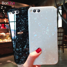 BONVAN For Xiaomi mi 8 SE Tempered Glass Case Dream Shell Glitter Hard Back Cover 6 mi8 Soft Silicone Bumper