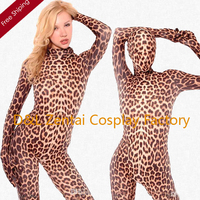 Free Shipping DHL Sexy Full Body Leopard Pattern Fashion Lycra Spandex Zentai Catsuit For Women LP109