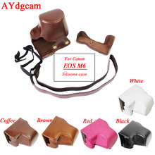 New Pu Leather-based Digital camera case for Canon EOS M6 EOSM6 EOSM 6 15-45mm Lens Digital camera bag Cowl with strap