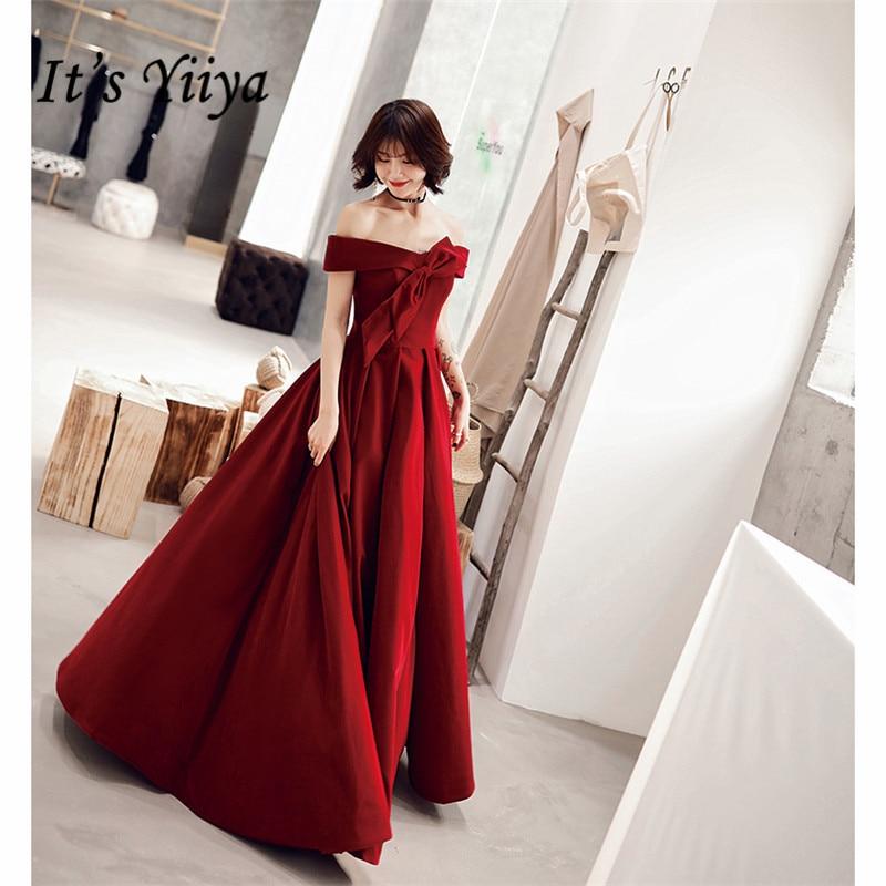 It's YiiYa Evening Dress Long Elegant A-Line Off Shoulder Bow Women Party Dress Boat Neck Robe De Soiree Plus Size 2019 E519