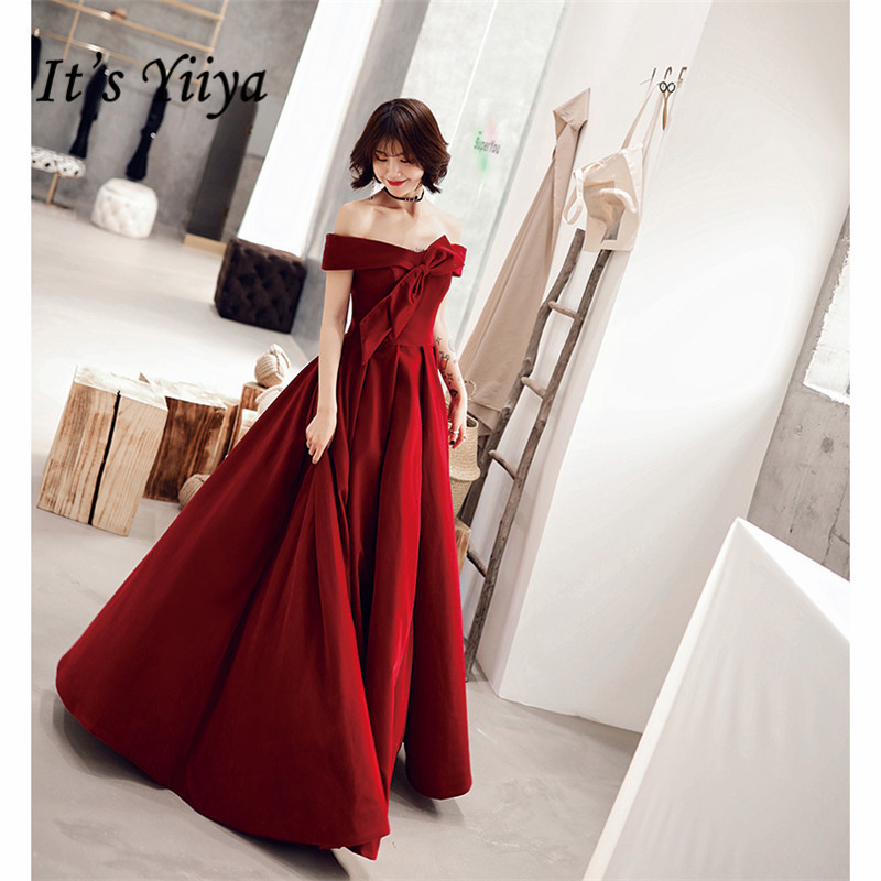 It's YiiYa Evening Dress Long Elegant A-Line Off Shoulder Bow Women Party Dress Boat Neck Robe De Soiree Plus Size 2019 E519