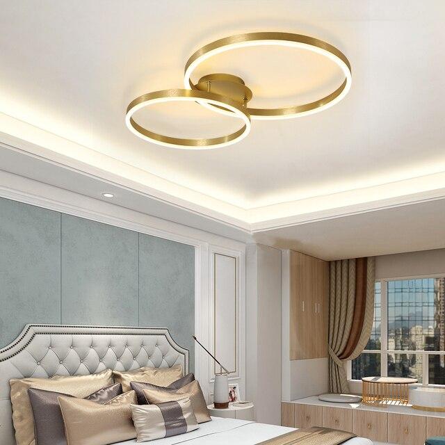 Modern Led Ceiling Light With Golden Rings Ceiling Lights Lighting