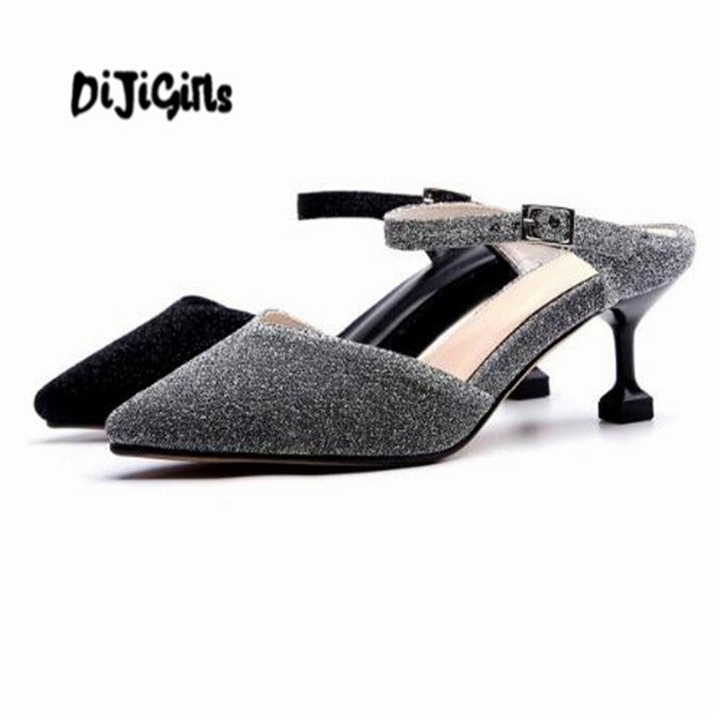 DIJIGIRLS vintage 2018 natural leather sandals wedding stiletto high heels pointed toe shallow dress career slip on mules