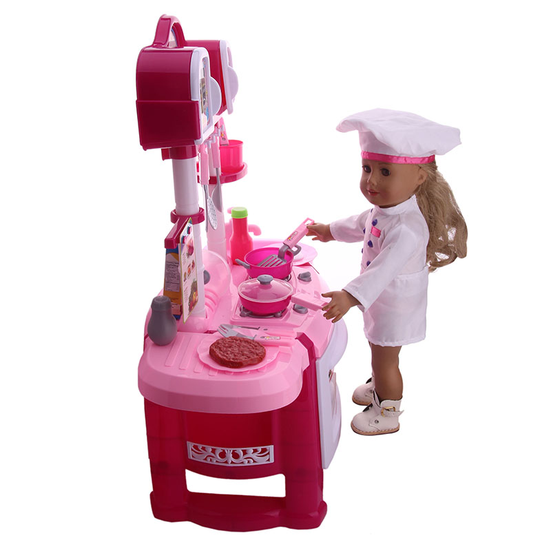 Handmade Doll Chef Set Clothes Accessories Fit 18 Inch American Doll & 43 Cm New Born Baby Zaps Doll Accessories Girl`s Toy