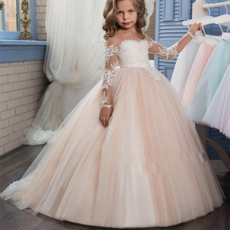 Lovely Long Sleeve Flower Girl Dresses for Sheer Neck Lace Little Girls First Communion Pageant Gowns