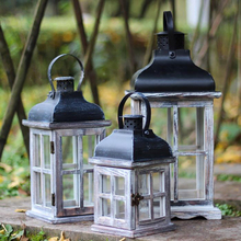 European Wooden Lights Candlestick Crafts Candle Stand Home Decor Windproof Candle Holder Ornaments Retro Candle Lantern retro iron candlestick lantern tea light holder home shop ornaments