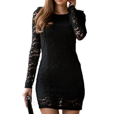 2014 New Fashion Bodycon Lady Women Long Sleeve Lace Dress Slash O