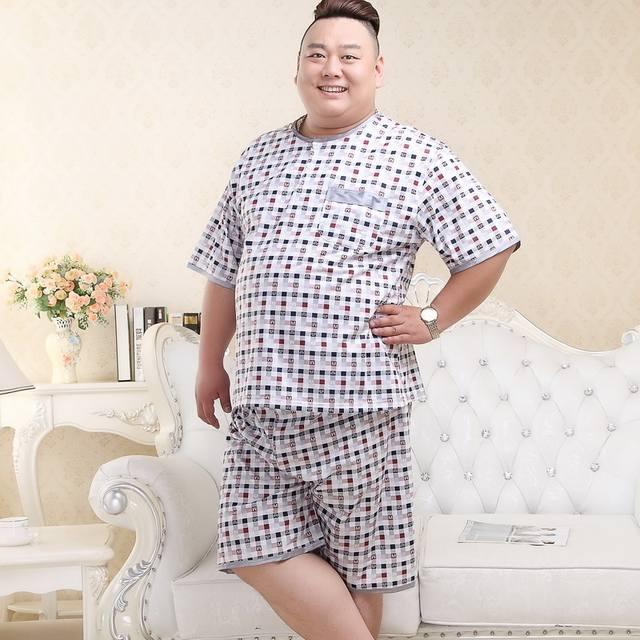 Free Shipping 2018 Men's Summer Cotton Plus Size Pajamas Male Extra Large Size Sleepwear Set Thin Fabric Short Sleeve Shorts
