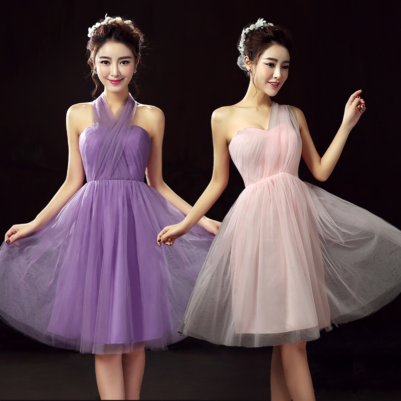 Lujo Vestido De La Dama De Honor Corto Convertibles Ornamento ...