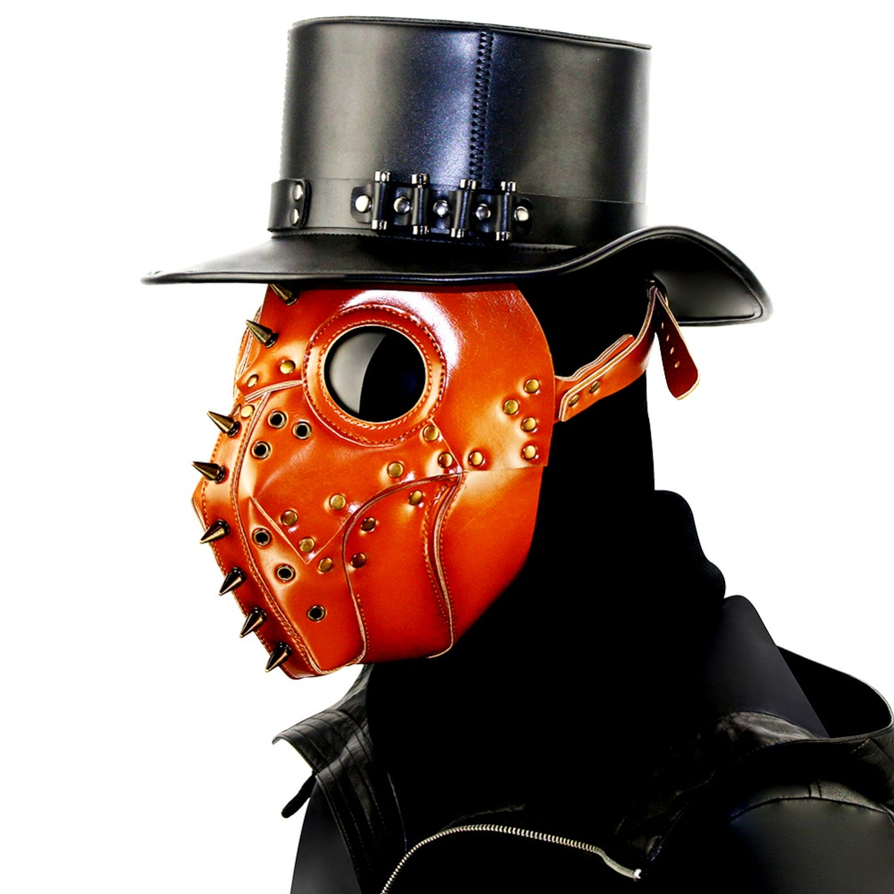 GEARDUKE Devil Grimace Mask Cosplay Steampunk Plague Mask Halloween Unisex Costume Theater Prop Hot New Brown PU Masks