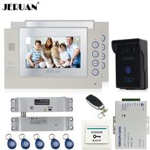 New Year 2018  Flash Deal JERUAN Two 7`` luxurious Video Door Cellphone intercom System RFID waterproof Contact Digicam+Electrical Bolt lock+8GB Card+free transport