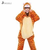 JRMISSLI Winter Pajamas All In Tiger One Flannel Anime Pajamas Set Cartoon Adult Women Warm Homewear