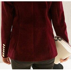Image 3 - Fashion New Brand Spring Women Slim Velvet Blazer Jacket Double Breasted Simple Lady Blazers High Grade OL Clothing