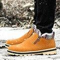 Высокое Качество Мужчины Сапоги Зимние Повседневная Марка Теплые Ботинки Мужчины Кожаные Сапоги Плюшевые Меховой Моды Обувь Для Ходьбы