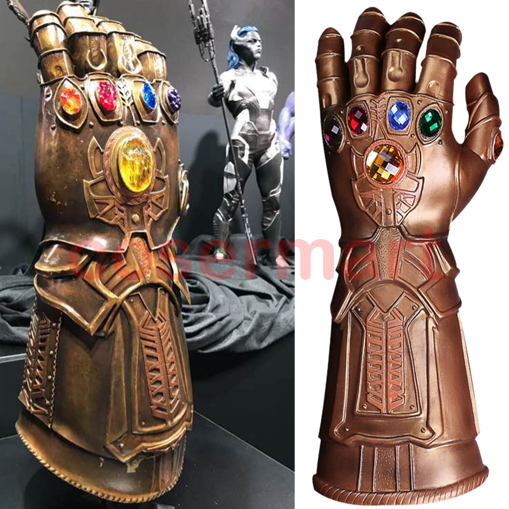 Cosplay Infinity Gauntlet Avengers Infinity War Thanos Gloves Gold Cosplay Studs Halloween Prop New plywood