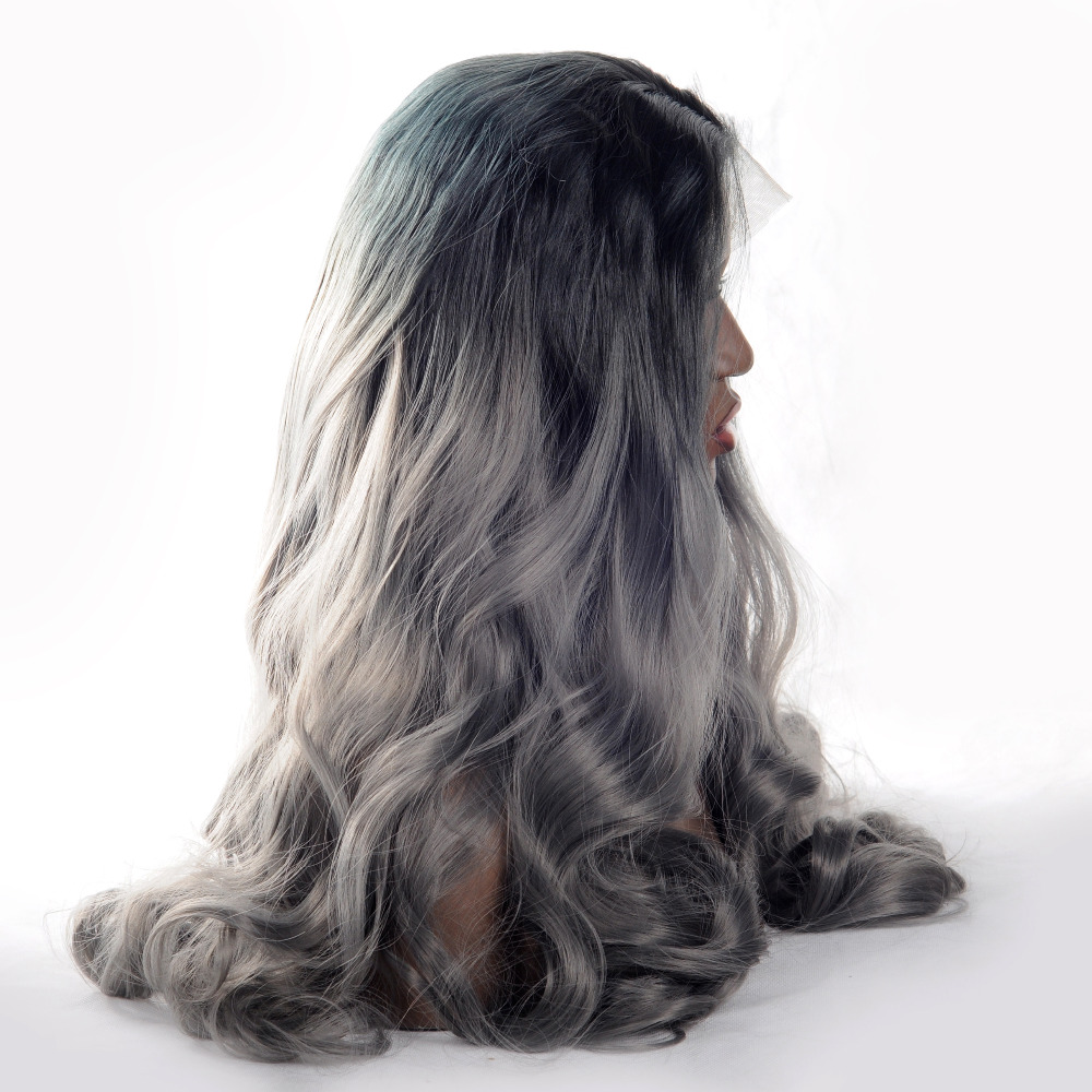 Vnice Ombre Dark Grey Body Wave Synthetic Lace Front Wig Natural