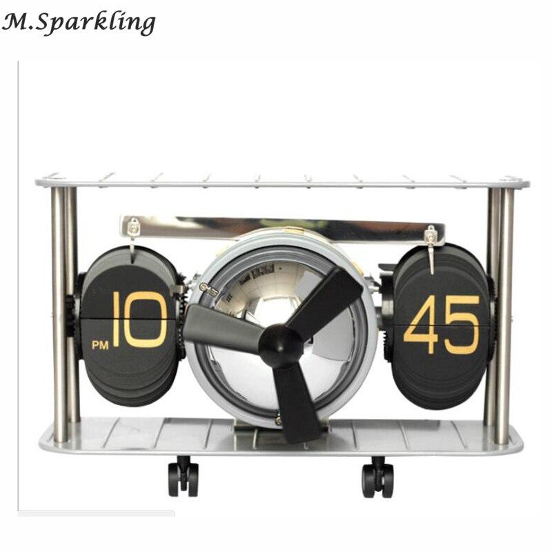 New 2018 Retro Airplane Propellor Airscrew Retro Auto Balance Flip Clock Desk Table Down Page Internal Gear Operated Clock