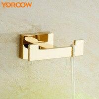 Screws Brass Single Hanging Hook Clothes Hat Square Wall Mount Gold Towel Bathroom Door Coat hooks Nails Keys Small New FJ0011