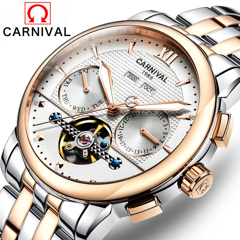 relojes HOMBRE Carnival Top Brand Waterproof 30M Luxury Watch Multifunctional Automatic Clock Mens Tourbillon Mechanical Watchesrelojes HOMBRE Carnival Top Brand Waterproof 30M Luxury Watch Multifunctional Automatic Clock Mens Tourbillon Mechanical Watches