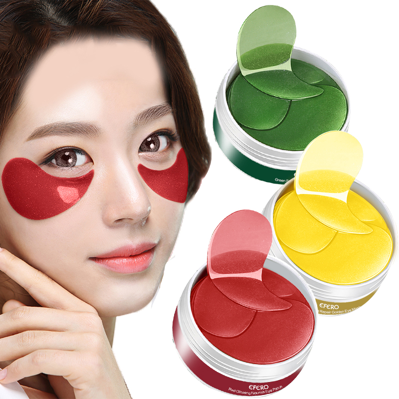 60PC 24K Gold Collagen Eye Mask Gel Eye Patches for Eyes Care Sleep Mask Face Mask Remover Dark Dircles Bag Eye Patch Under Pads in Creams from Beauty Health
