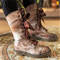 2018 Hot Sale Lace Up Leather Women Western Boots Solid Mid Calf Round Toe Ladies Winter Flat Buckle Martin Boots Fashion Big 43