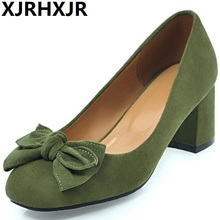XJRHXJR Brand Plus Size 32-45 Women Pumps Fashion Elegant Round Toe Square Med Heels Office Lady Woman Shoes Black Pink