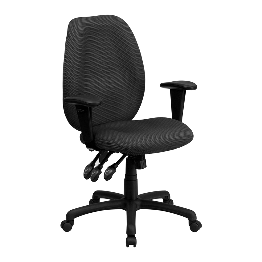 Flash Furniture High Back Gray Fabric Multi-Functional Ergonomic Task Chair with Arms [863-BT-6191H-GY-GG] dark gray off shoulder jumpsuit with multi functional neck