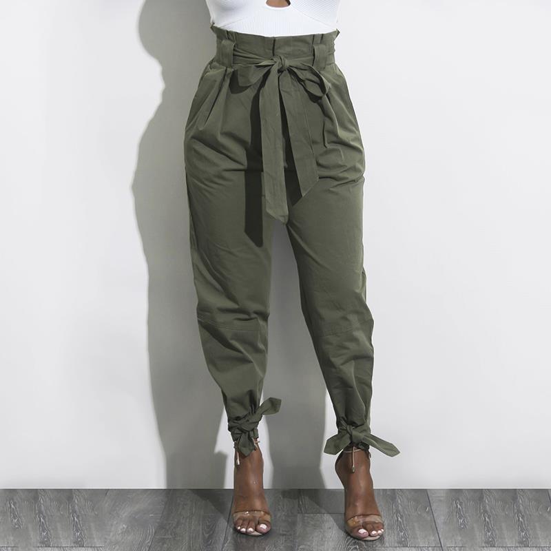 Fashion Summer Solid OL Style Harem Pants Women Fashion High Waist Female Bow Tie Drawstring Casual Trousers Pantalones WS4769V
