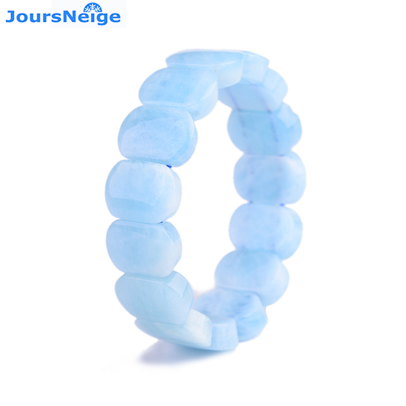 Wholesale Fine Blue Stone Hand Row Natural Stone Bracelets Sweet Style For Women birthday Present Simple Fresh Crystal Jewelry