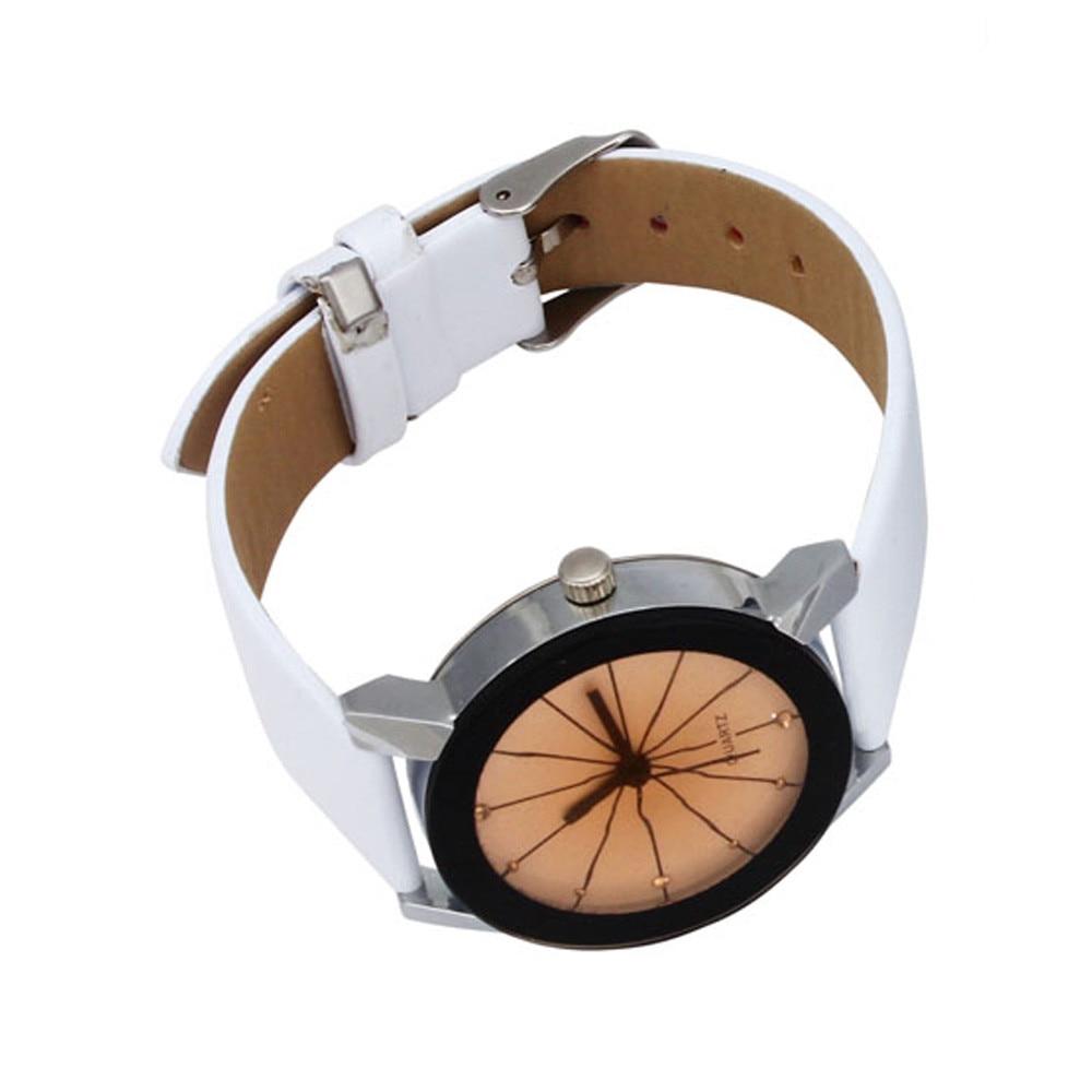 2018 Baru Kedatangan Pria Kuarsa Dial Jam Kulit Wrist Watch Putaran - Jam tangan wanita - Foto 3