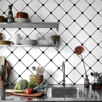 60x98cm Kitchen Oil proof Sticker Nordic Wall Sticker Black White Lattice Wallpaper Geometric Tile Self adhesive Wallpaper Decor