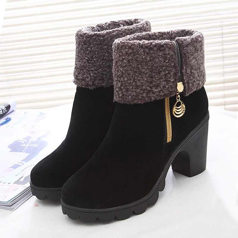 High heels fur round toe platform winter boots ladies dress shoes flock plush zipper solid women mid-calf snow boots 11cm heels 2013 new winter high platform soled high heeled snow boots female side zipper rabbit fur thick heels snow shoes h1852